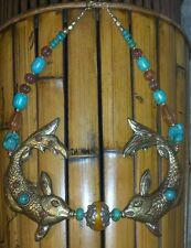 Nepalese Large Brass Turquouise Resin Glass Bead Two Fish Pendant  Necklace