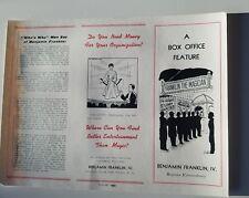 Vintage WV Benjamin Franklin the magician box office brochure Magic