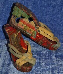 Hand-Carved Platform Shoes Size 5/6 N