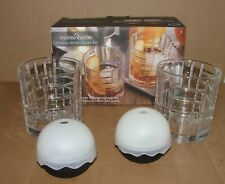 Whiskey Glass Set = 2 On the Rocks Glasses + 2 Silicone Round Ice Ball Molds New