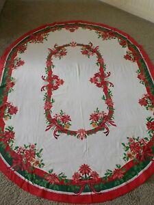 Christmas Tablecloth Ribbon Bows Vintage  Poinsettias 1980's Oval 78x58 LOT A