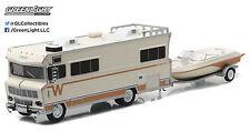 1:64 GreenLight *HITCH & TOW* 1973 Winnebago RV Camper w/BOAT & TRAILER Set NIB