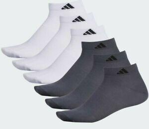 Adidas Low-Cut Socks Mens Climalite Superlite Size 6-12 White Grey/Onix 6 Pairs