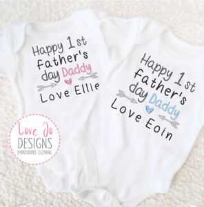 Personalised Baby Boys/Girls 1st Father's Day, Embroidered Vest, Unique Bodysuit