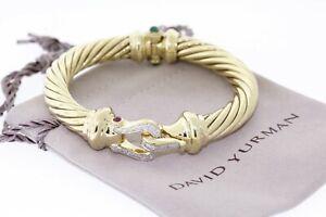 DAVID YURMAN 18k Yellow Gold Diamond Ruby Emerald 10MM Cable Buckle Bracelet