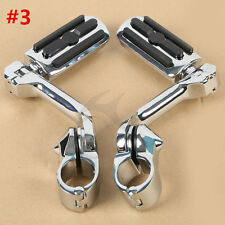 """Chrome 1.25"""" 32mm Long Angled Adjustable Highway Foot Pegs Peg Mount For Harley"""