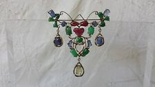 """Antique Chinese Silver Gilt Jade Ruby Sapphire Pin Brooch 2.5"""" Estate Find"""
