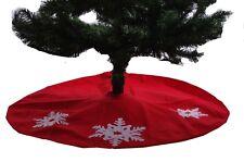 "Christmas Winter Red White Snowflake Xmas Tree Holiday 40"" Skirt Modern Felt NEW"