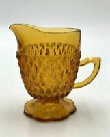 Vintage Gold Amber Diamond Point Creamer & Open Sugar By Indiana Glass USA Made
