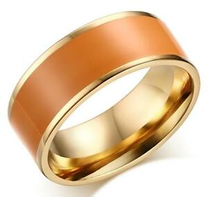 Stainless Steel 316L Gold Edge Colored Enamel Ring and Band 8MM