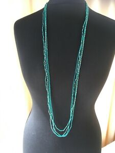 Set of 4 green long seed and bugle bead necklaces - N026