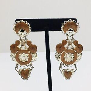 Vintage 80s Enamel Dangle Silver Tone Filigree Post Earrings Pierced