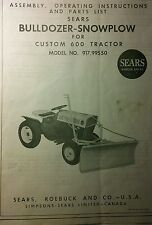 Sears Custom 6 600 Garden Tractor Bulldozer Push Blade Owner & Parts Manual 6pg