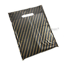 "200 BLACK & GOLD STRIPE PLASTIC CARRIER BAGS 15""x18""+3"" GIFT PATCH HANDLE"