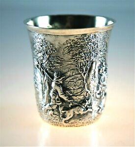 Relief Becher Jagdszene 835 Silber vergoldet Neresheimer Hanau 411/3