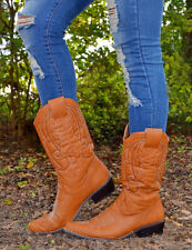New Women's Congnac Cowgirl Boots With (BrownB-003) Size-9