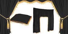 5 Tlg. LKW Vorhänge Fenstergardine Gardine schwarz Gold Universal