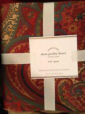 Pottery Barn Mira Paisley Duvet F/Q New! Red Cranberry Italian Christmas Holiday