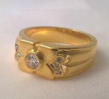G-Filled Mens 18k yellow gold simulated diamond ring Gents USA size 10 Aus U new