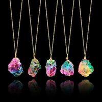 Chakra Quartz Irregular Rainbow Stone Jewelry Natural Crystal Pendant Necklace