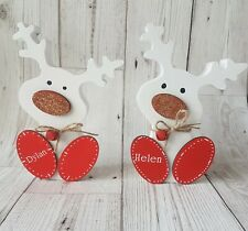 Reindeer personalised christmas decoration, wooden, boys or  girls gift, new