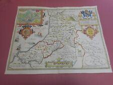100% ORIGINAL  LARGE CARDIGANSHIRE  MAP BY JOHN SPEED C1676 HAND COLOURED