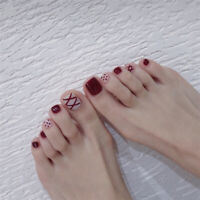 Fashion Full Sticker 24Pcs Red Art Tips Full Cover False Toe Fake Nails Manicure