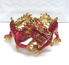 Butler and Wilson Red Orange Enamel Dragon Bangle Bracelet NEW