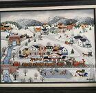 Signed Original Oil Painting Jeanne Isenhart Christmas Winter Amish