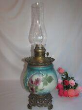 "New listing Antique Victorian Oil Kerosene Banquet Parlor Lamp Handpainted Working Wick 23"""