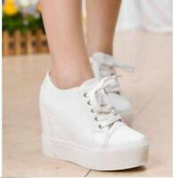 New Women's Wedge Hidden Heel Platform Sneakers Creeper Casual Sport Shoes