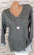 MADE IN ITALY Feinstrick Pullover Shirt Leo Leoparden Look grün 40 42 44