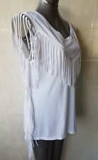 Rockmans White Top, Fringe at Bodice, Sides and Sleeves, Sleeveless, Size 14 (L)
