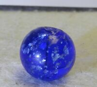 #10592m Vintage German Handmade Blue Glass Mica Marble .61 Inches