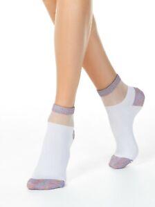 CONTE Fancy ACTIVE 207 anklet lurex sheer mesh stripe SOCKS