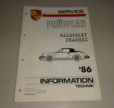 Manual de Taller/Porsche 911 Carrera 3,2 Cabrio Prüfplan El. Cubierta 1986