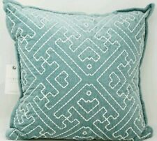 "Lucky Brand Sashiko 100% Cotton Embroidered 18"" Square Decorative Pillow - Teal"