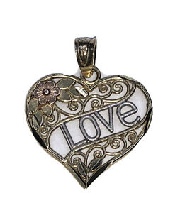 """14k Yellow Gold Heart Shaped """"LOVE"""" Women's Charm Pendant With Flower Design!"""