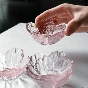 Japanese Style Glass Blossom Cherry Shaped Dish Pink Seasoning Sauce Soy Bowl