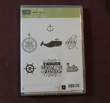 Stampin' Up! HELLO SAILOR Clear Mount Set Whale Anchor Ship Wheel NEW Retired