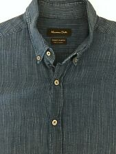 Massimo Dutti Mens Casual Button Down Shirt Blue Texture Stripe Cotton Large NEW