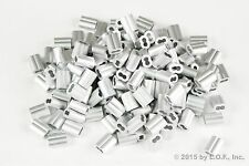 """100 - Ferrules Only 1/8"""" Aluminum Cable Snare Wire Swage Line End Double Barrel"""