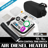 Diesel Air Heater 5KW 12V Thermostat Caravan Motorhome +Digital Switch +Silencer