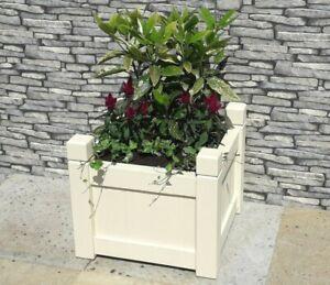 Handmade Painted CREAM Square Formal Wooden GARDEN PLANTER + Heavy Duty Liner