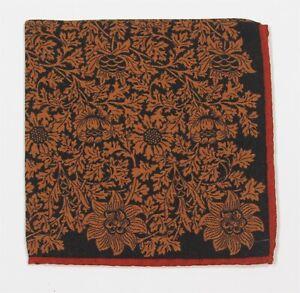 New! Black/Orange/Brown Floral Paisley Hand Rolled Silk & Wool Pocket Square