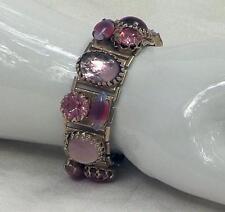 Vintage  Lavender & Pink Rhinestone & Cabochon Prong Set Panel Link Bracelet