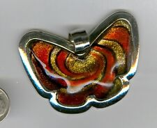 Gold Sand lamp work orange and black colored butterfly glass pendant. Set of one