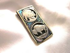 Beautiful Money Clip.  Real Indian Head. Silver Inlaid And Abalone.