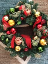 24in Christmas Wreath, Decorated Red & Green & Gold Balls by David Shindler