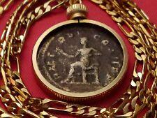 "Authentic Roman Copper Pendant of Philip I Set on a 24"" 18kgf Figaro Link Chain"